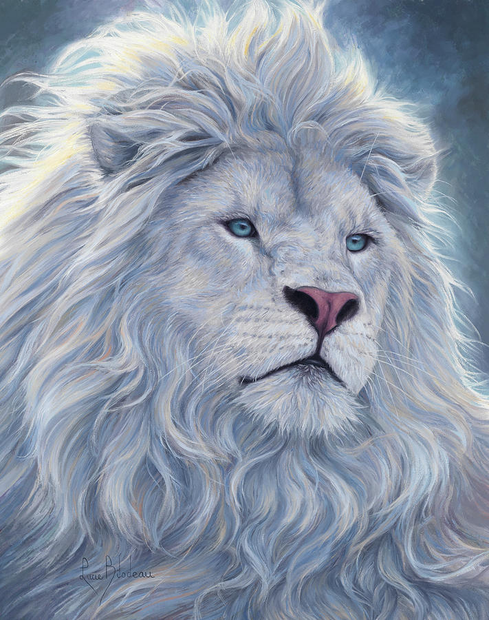 White Lion Painting - White Lion by Lucie Bilodeau