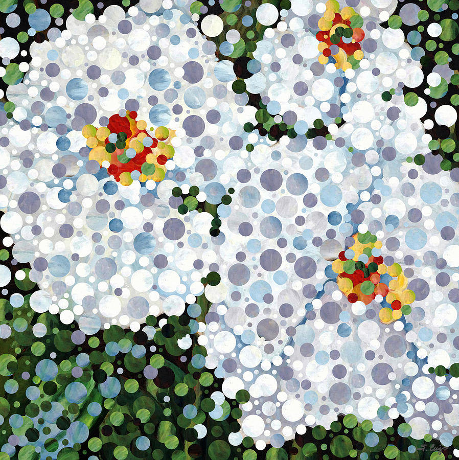 Abstract Painting - White Orchids - Full Circle Art by Sharon Cummings