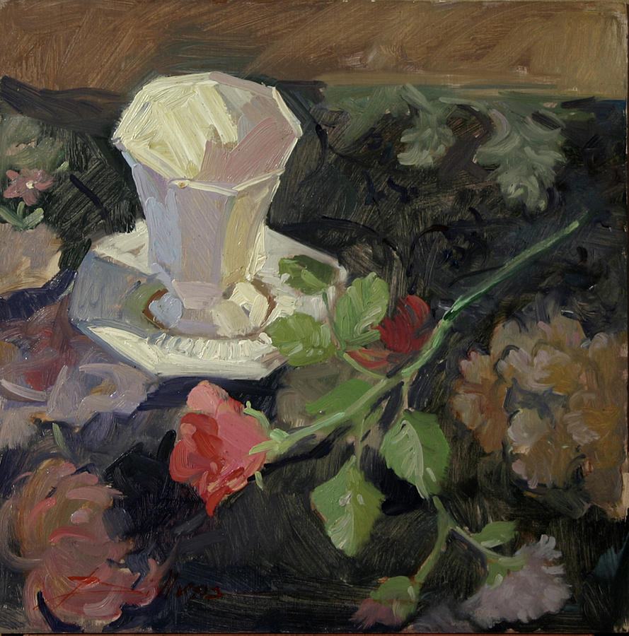 White Porcelain and Roses Painting by Betty Jean Billups
