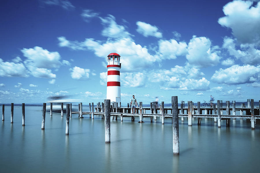 White-red Lighthouse In Podersdorf Am See Photograph