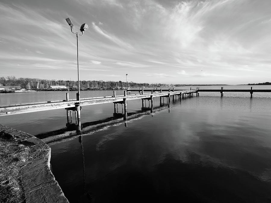 White Rock Lake Dallas Monochrome Pier 011520 by Rospotte Photography