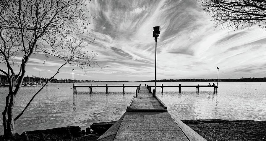 White Rock Lake Pier Monochrome 011320 by Rospotte Photography