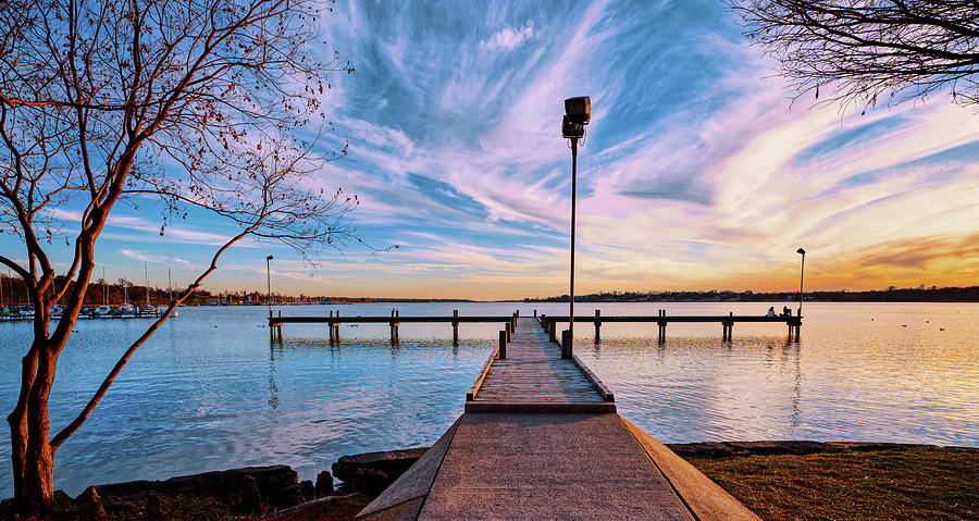 White Rock Lake Pier Sunset 0114a20 by Rospotte Photography