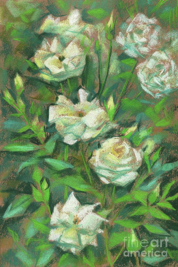 Botanical Garden Pastel - White Roses, Green Leaves by Julia Khoroshikh