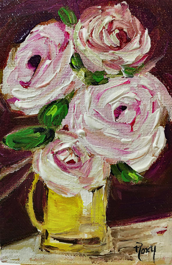 White Roses In A Yellow Pitcher Painting