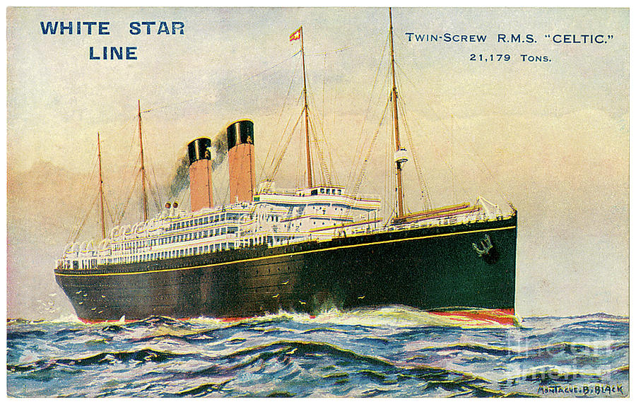 White Star Line Rms Celtic Travel Postcard Painting