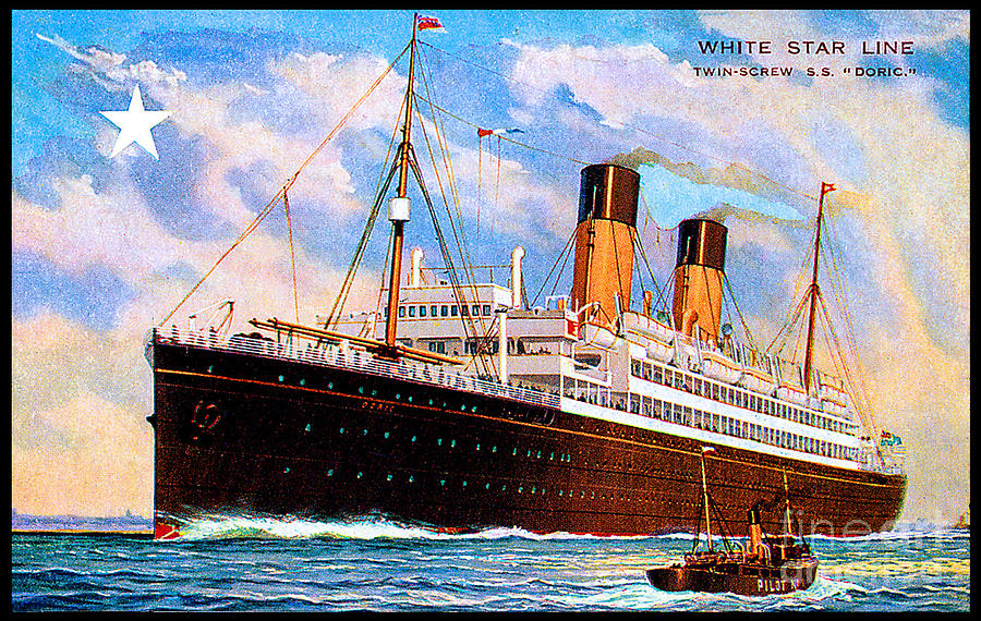 White Star Line Twin Screw  Ss Doric Travel Postcard Painting