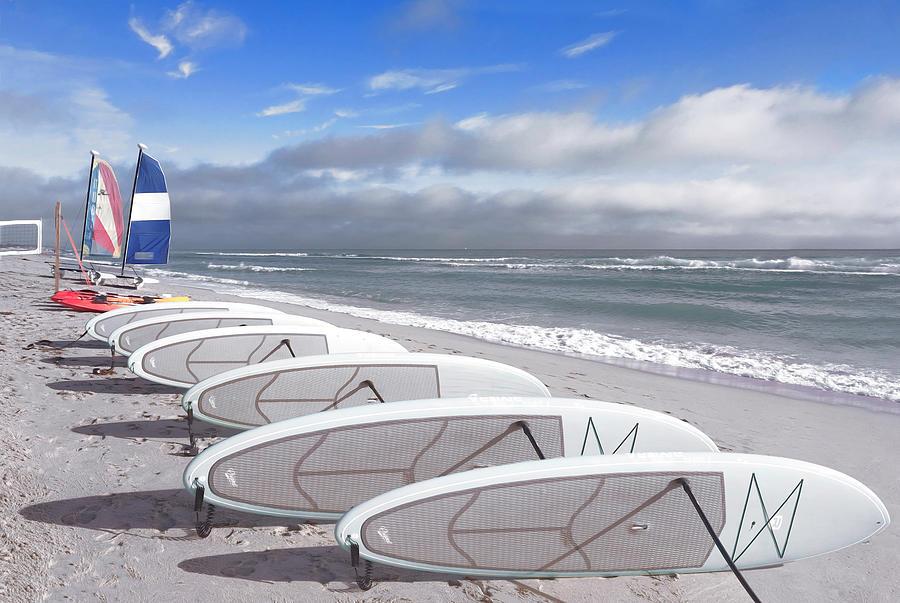 White Surfboard Lineup by Debra and Dave Vanderlaan