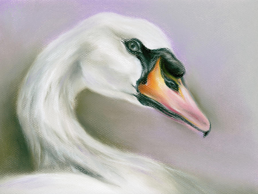 White Swan on Purple by MM Anderson