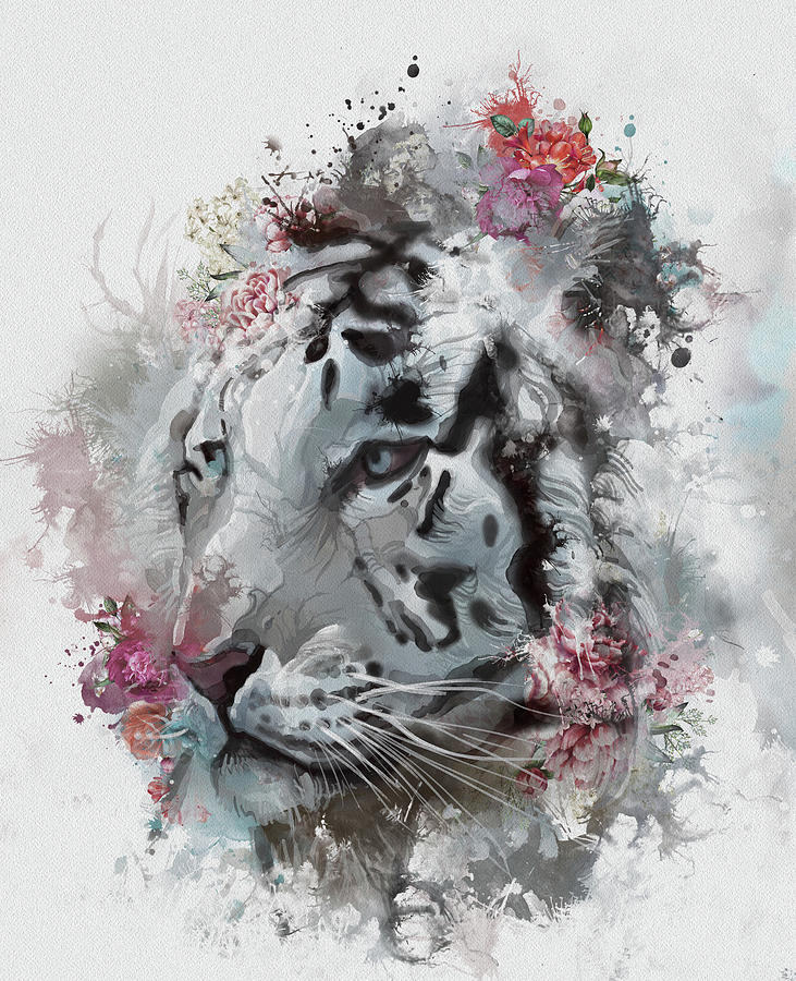 White Tiger Floral Digital Art