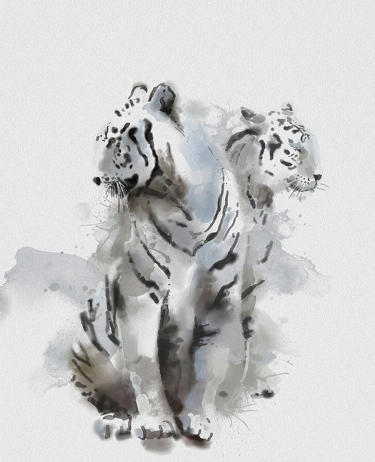 White Tigers V2 Digital Art