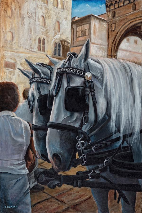 Horse Art For Sale Painting - White Wedding Horses, Florence, Italy by Kina Tiemann