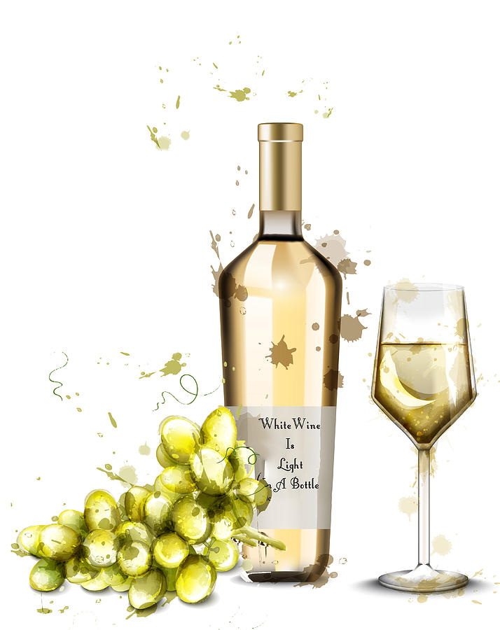 White Wine Is Light In A Bottle by Miki De Goodaboom