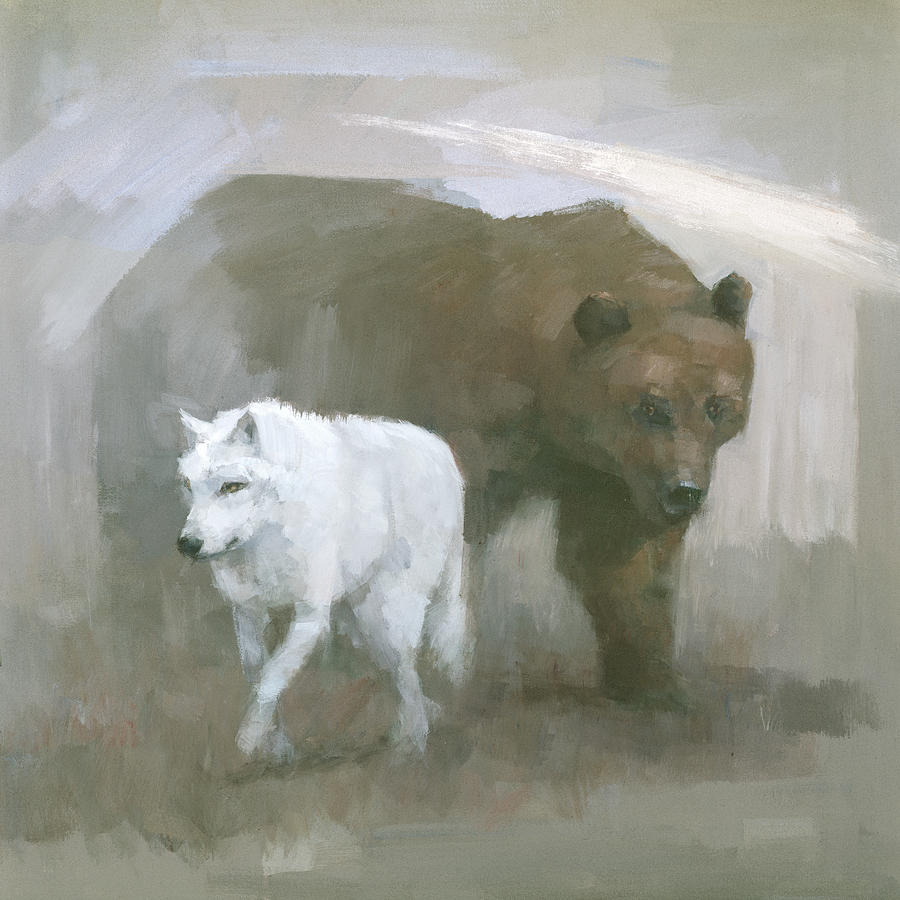 Bear Painting - White Wolf, Brown Bear by Steve Mitchell