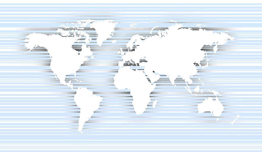 White World Map Over Bluish Lines Digital Art