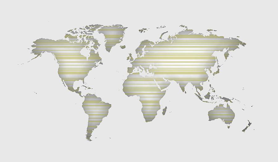 White World Map With Horizontal Lines Digital Art