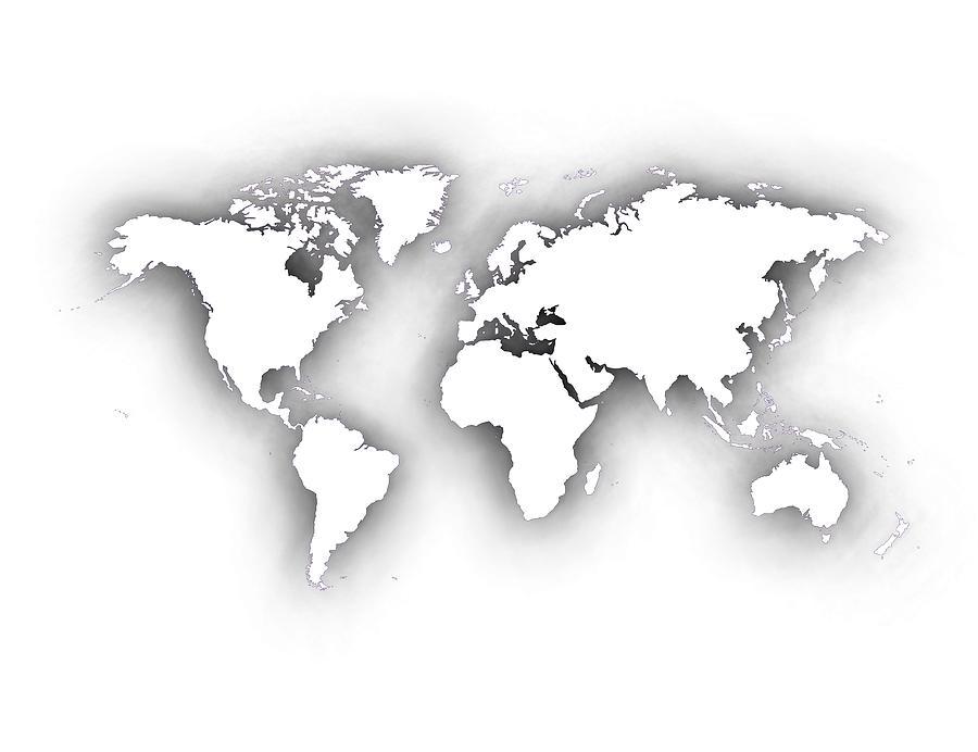 White World Map With Shadows Digital Art