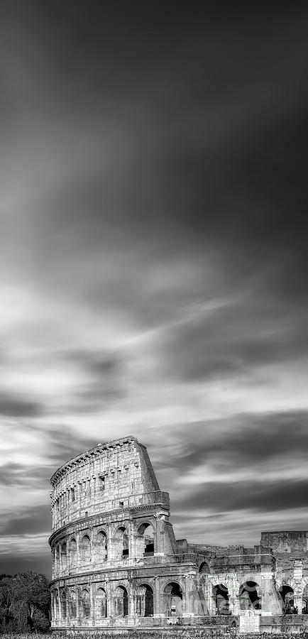 Colosseum Photograph - Wide Hi-Res Colosseum Black and White by Stefano Senise