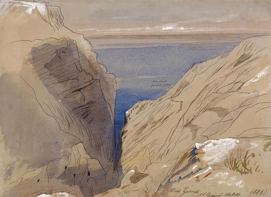 Edward Lear Drawing - Wied Zurrik, Malta by Edward Lear