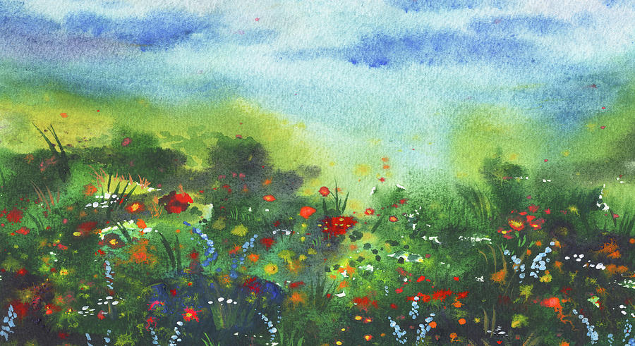 Wild Flowers In The Field Impressionistic Landscape Painting
