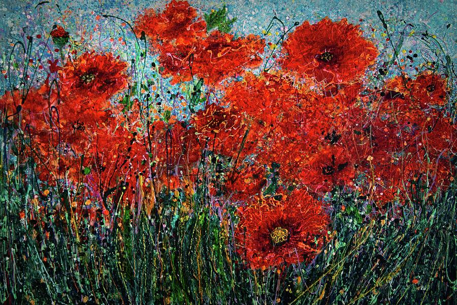 Wild Grass And Poppies Pollock Inspiration II by OLena Art - Lena Owens