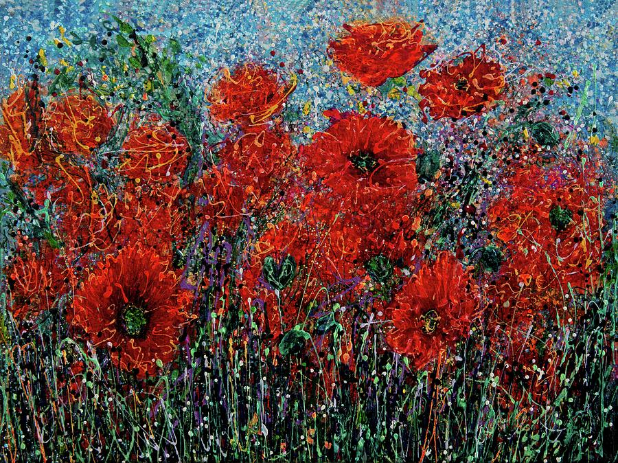 Wild Grass and Poppies Pollock Inspiration by OLena Art - Lena Owens