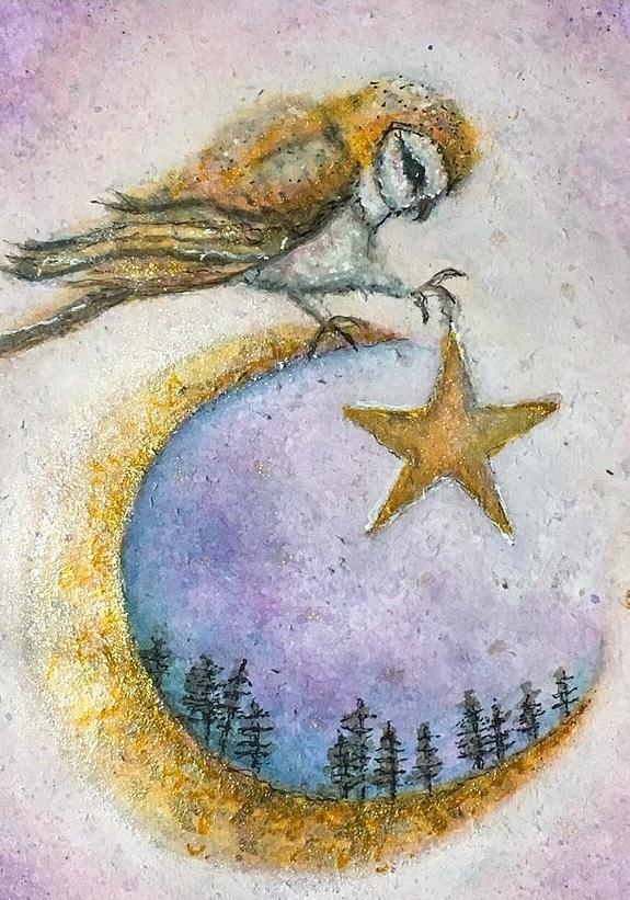 Watercolor Painting - Wild Moon Owl  by Sharon May Nicol