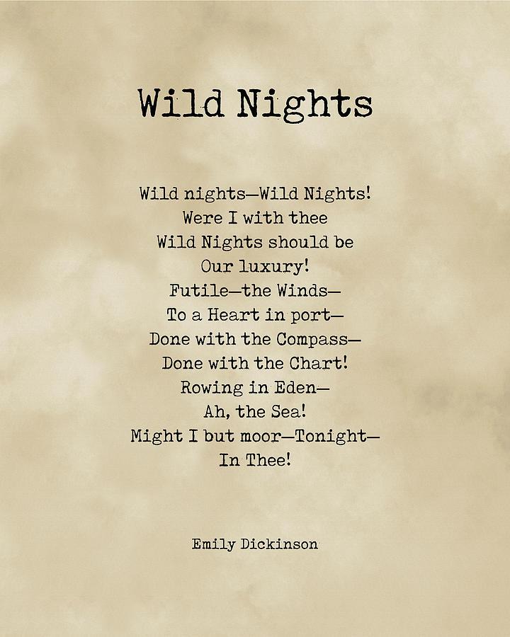 Wild Nights - Emily Dickinson Poem - Literature - Typewriter Print On Old Paper Digital Art