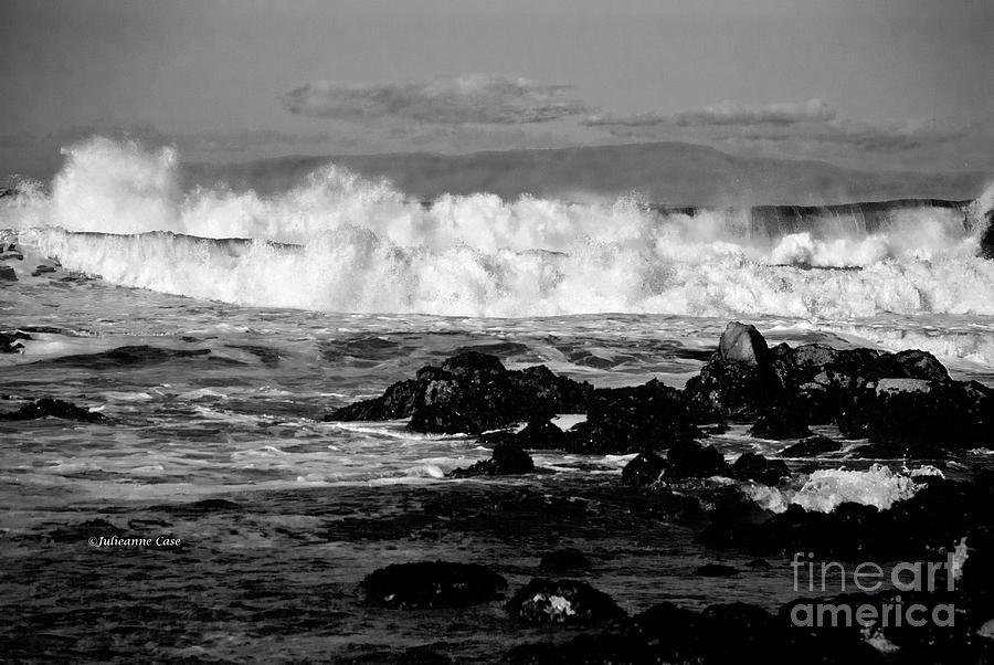 Wild Surf Black N White Photograph