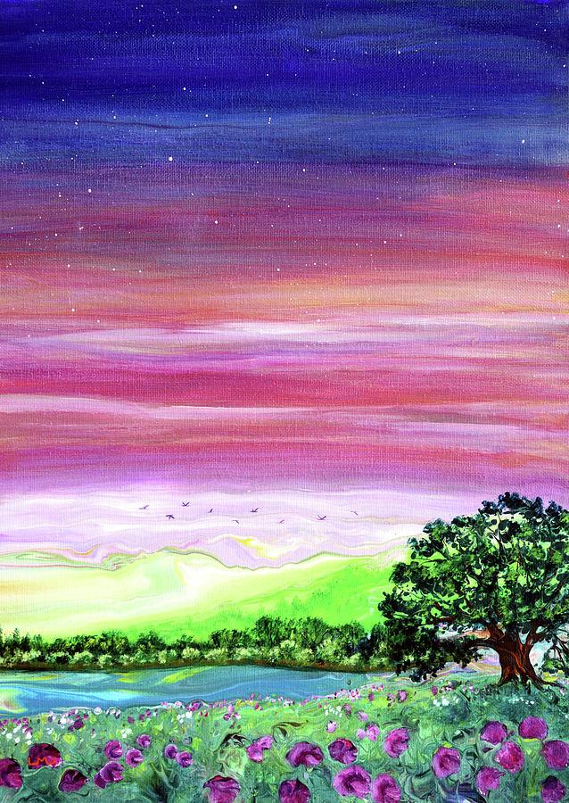 Wild Sweet Peas At Sunset Painting