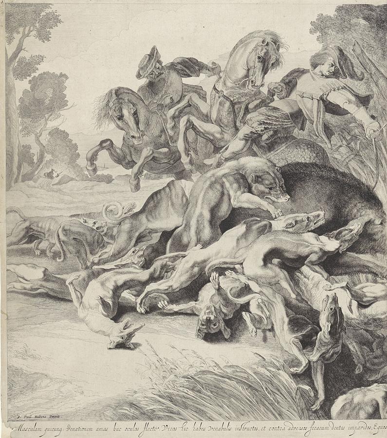 Wildezwijnenjacht Linkerplaat, Pieter Claesz. Soutman, After Peter Paul Rubens, 1642 Painting