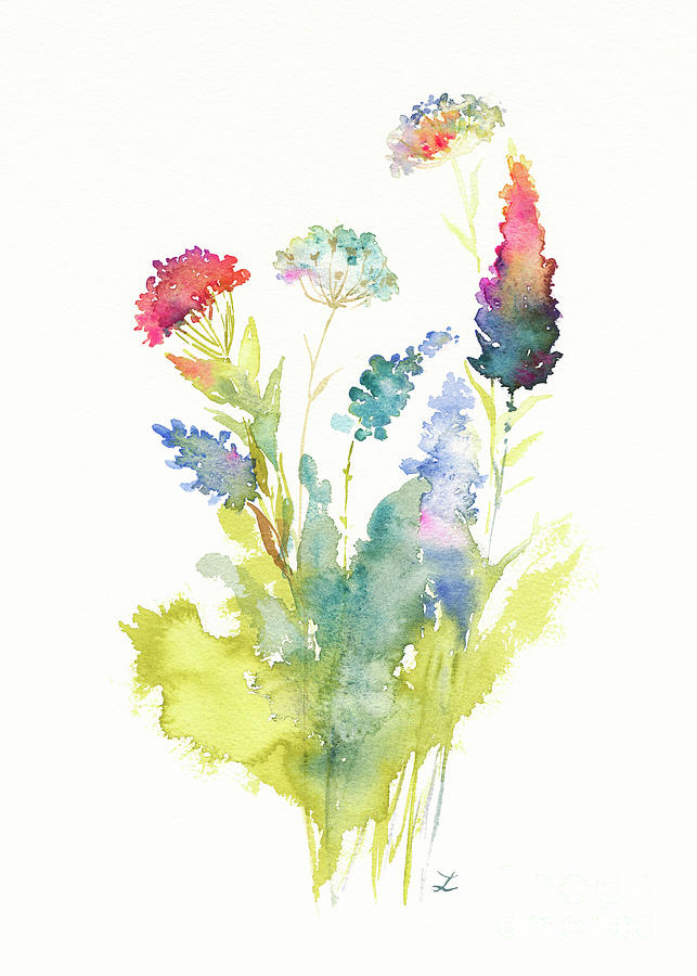Wildflowers Painting - Wildflower Time by Zaira Dzhaubaeva