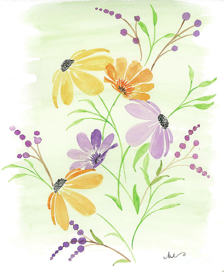 Watercolor Painting - Wildflowers 1 by Beth Erickson