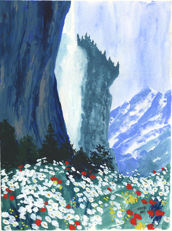 Wildflowers And A Waterfall Painting
