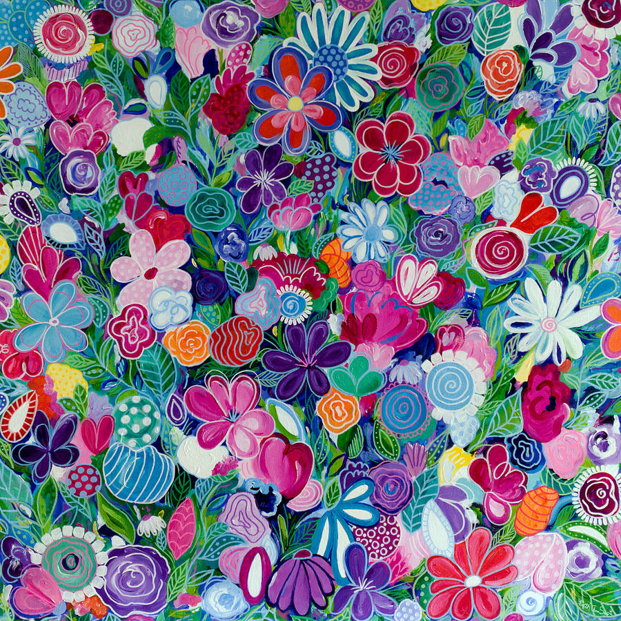 Abstract Floral Painting - Wildflowers by Beth Ann Scott