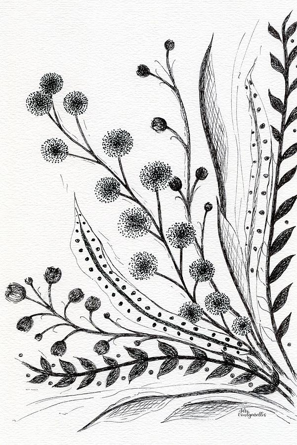 Wildflowers Bouquet Vertical Drawing