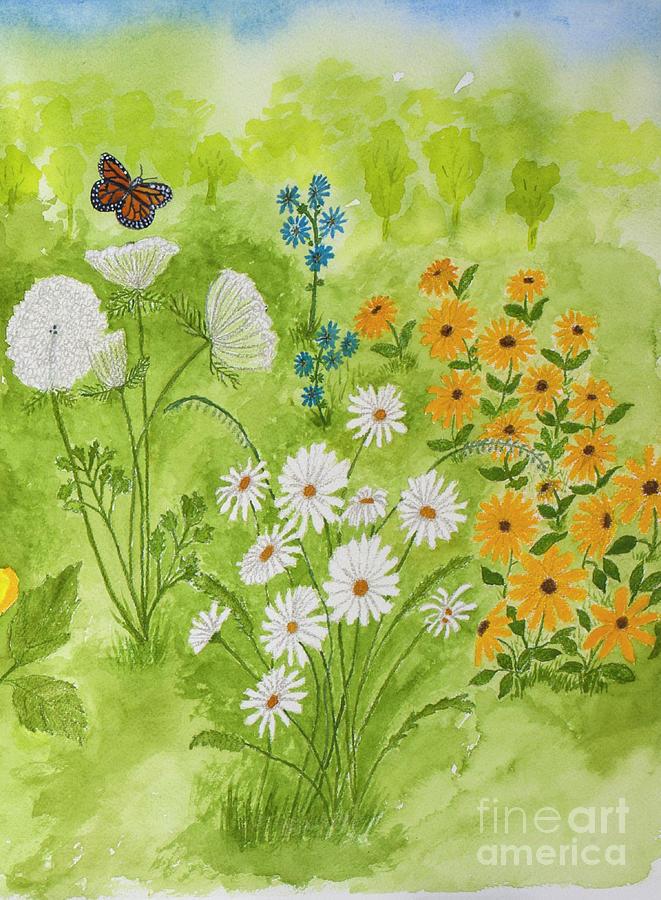 Wildflowers Painting - Wildflowers in the Garden by Conni Schaftenaar