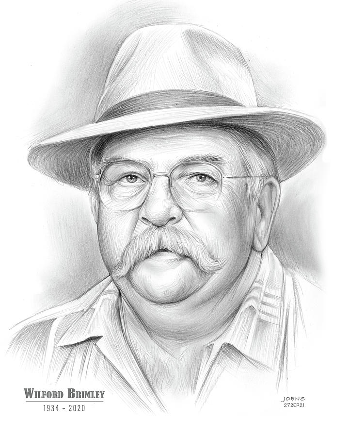 American Drawing - Wilford Brimley - pencil by Greg Joens