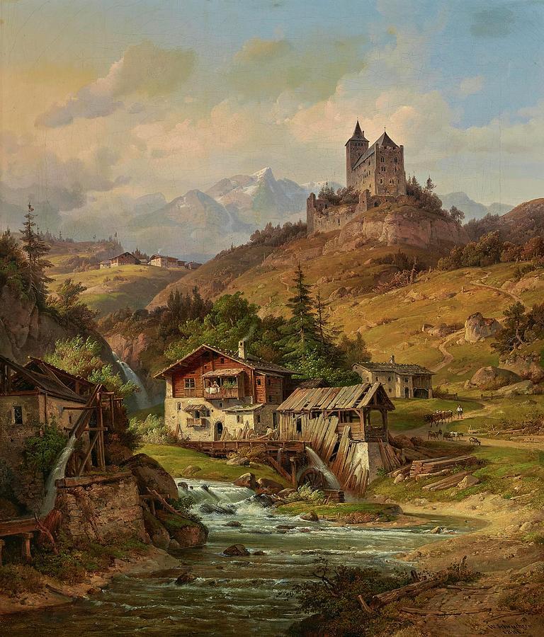 Wilhelm Scheuchzer 1803-1866 - View Of The Riom Castle Casti Da Riom In Graubunden Painting