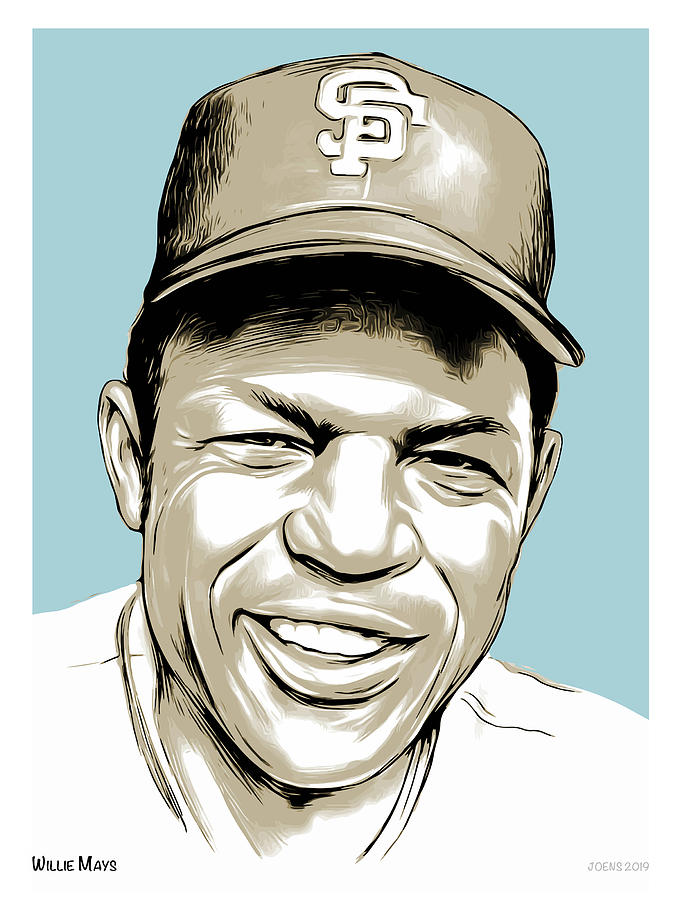 Willie Mays Line Art Drawing