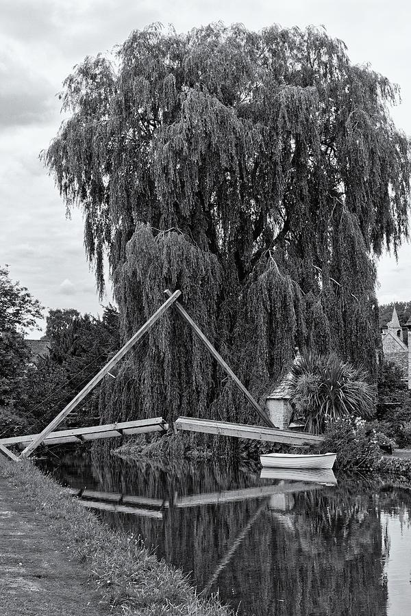 Willow Boat And Bridge Monochrome Photograph