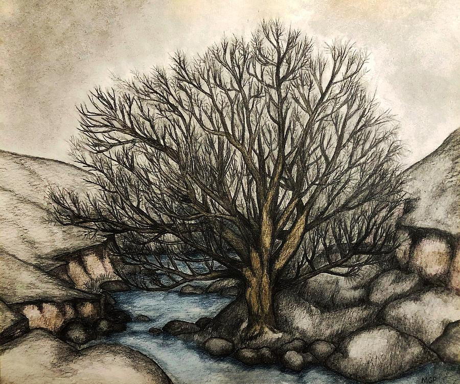 Willow By The Stream Painting