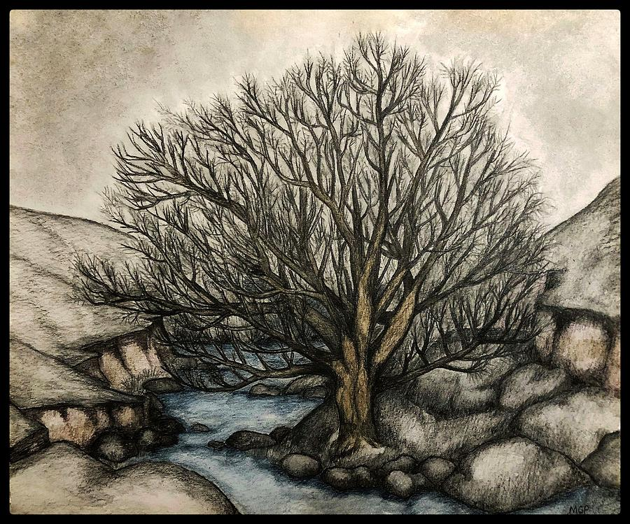 Willow By The Stream W/ Border Painting