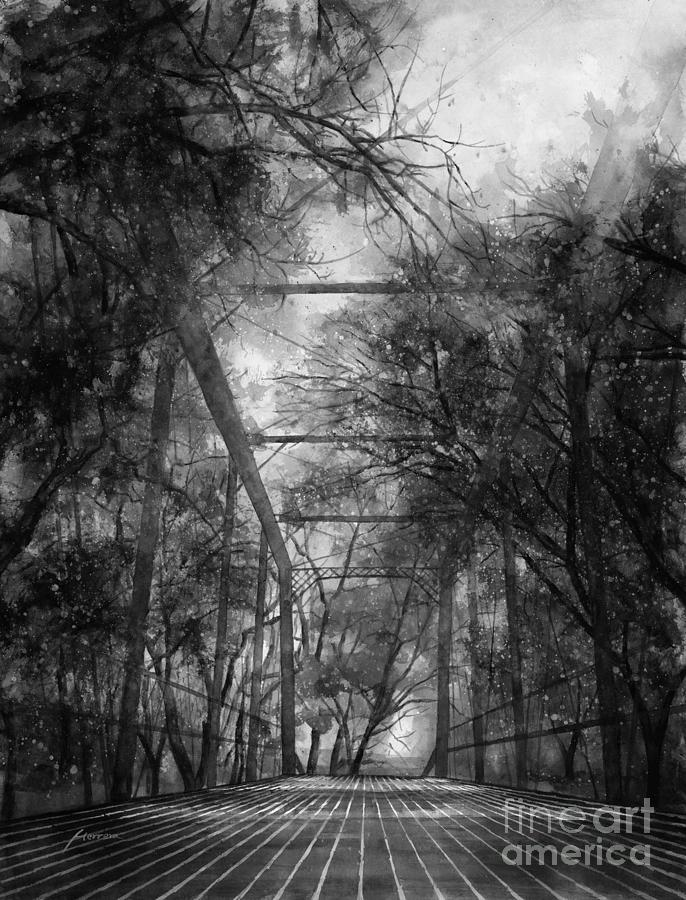 Fayetteville Painting - Willow Springs Road Bridge in Black and White by Hailey E Herrera
