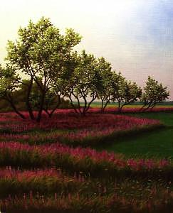 Landscape Painting - Willows And Purple Loosestrife by Anthony Petchkis