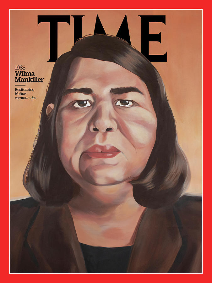 Time Photograph - Wilma Mankiller, 1985 by Painting by Lauren Crazybull for TIME