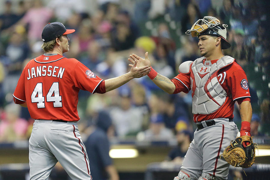 Wilson Ramos and Casey Janssen Photograph by Mike Mcginnis