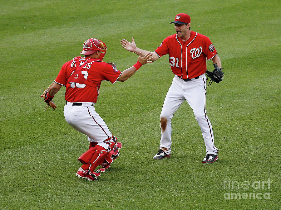 Wilson Ramos and Max Scherzer Photograph by Rob Carr