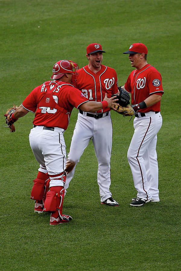 Wilson Ramos, Max Scherzer, And Tyler Moore Photograph by Rob Carr