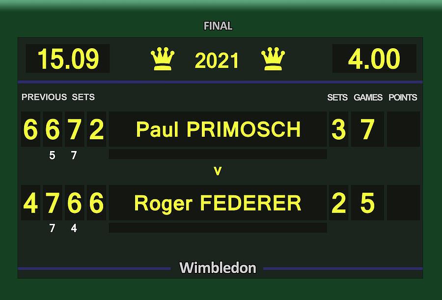 Wimbledon Scoreboard 2021 - Primosch V Federer Digital Art